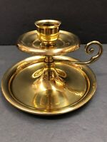 Vintage Antique Large Brass Handled Candle Stick Candle Holder