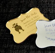 Engraved Gold/Silver Mirror Acrylic Wedding Save the Date Ornate Style w/ Magnet