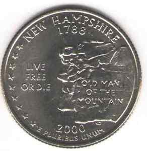 US. 2000-D. New Hampshire Statehood (1788) Quarter. Uncirculated.