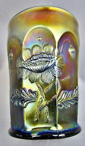 "C162 Northwood ORIENTAL POPPY Amethyst Carnival Glass 4"" Tumbler"