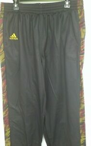 Men's ADIDAS PM Pro Lined Basketball/Athletic Pants Black/Yellow: XL +2 Length