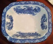 Antique Doulton Burslem Watteau Flow Blue Wash Bowl Basin Mid 1800's HUGE