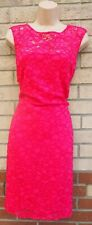 ANDREW MARC NEW YORK PINK FLORAL LACE CROCHET SLEEVELESS BODYCON DRESS 12 M