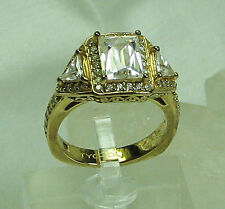 HSN 3 Stone Emerald & Trillion Cut Absolute Technibond GP Sterling Ring SZ 6.5