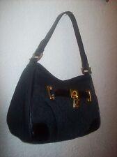 a067680559 RALPH LAUREN Signature Shoulder Bag Purse BLACK  158 NWT