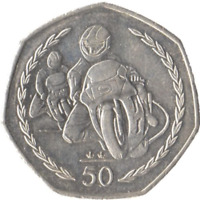1997 TT RACES IOM 50P PENCE COIN COLLECTABLE ISLE OF MAN Almost Uncirculated