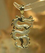16MM HAWAIIAN SOLID 14K YELLOW GOLD TEXTURED CHINESE ASIAN DRAGON CHARM PENDANT