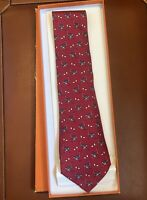 Hermes Paris Men's Neck Tie Red Ostrich 100% Silk Made In France Vintage NIB