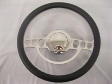 "14"" Classic Chrome Aluminum Leather Wrap Steering Wheel Kit GM Adapter & Button"