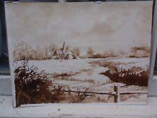 Mary Cooper Alfriston en la nieve original pintura de lavado de tinta firmado en papel