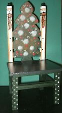 """CHRISTMAS CHAIR FOR DOLL AND PAINTED WOOD CHRISTMAS TREE CENTER BACK 11.25"""" H VG"""