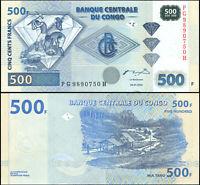 DR Kongo 500 Francs. UNZ 04.01.2002 Banknote Kat# P.96a