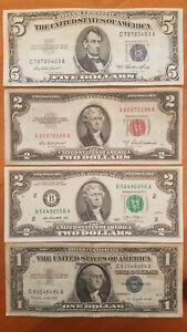 4 Note Lot: Blue Seal, Red Seal, Silver Certificate, Old Vintage/Antique Cash!
