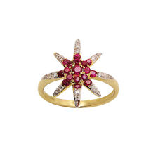 14K YELLOW GOLD PAVE DIAMOND STARBURST STAR RED RUBY COCKTAIL RING