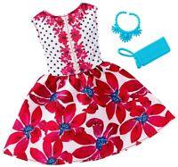 ~FCT35 Barbie FASHIONISTAS Complete Look Fashion Pack Floral Red Dress Mattel