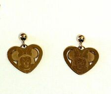 14k yellow gold Walt Disney Minnie Micky Mouse Ball dangle heart earrings 1.1g
