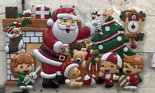 Brand New Plastic Santa Claus With Children Wall Plaque/Christmas Decoration