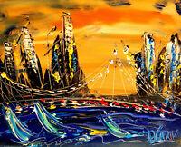 AMERICANA LAND by Mark Kazav  Abstract Modern CANVAS Original Oil Painting UPrt