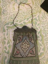 Antique 1920's Whiting & Davis Chain Mail Mesh Purse Enamel Art Deco