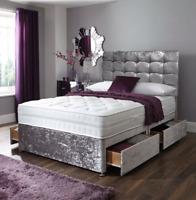 CRUSHED VELVET DIVAN BED + MEMORY MATTRESS + MATCH HEADBOARD 3FT 4FT6 Double 5FT