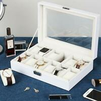 Watch Box Organizer Pillow Case - 12 Slot Luxury Premium Display Case White US
