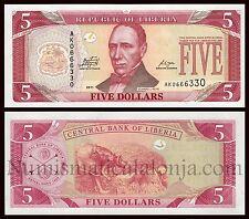B-D-M Liberia 5 dollars Edward J. Roye 2011 Pick 26f SC UNC