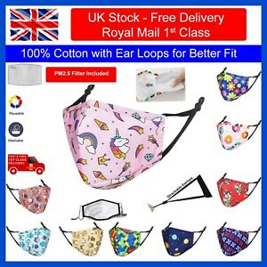 Comfortable Cotton Kids Children's Face Mask with Ear Loops - Reusable Washable