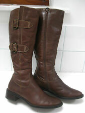 Ladies ECCO brown leather knee high BOOTS size UK 3 EU36 biker western buckles