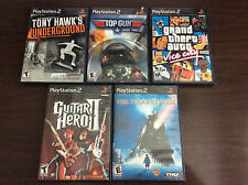 Play Station 2 PS2 Lot 5 Video Games Top Gun Tony Hawk Guitar Hero GTA Vice City