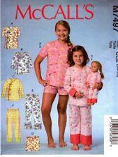 McCalls Sewing Pattern 7497 M7497 Childrens Girls Tops Shorts Pants PJs 7-14