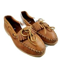 Minnetonka Women's Kilty Brown Leather Moccasins Slip-ons Size 6.5