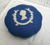 Wedgwood Royal Blue Jasperware Scalloped Box Queen Elizabeth II Jubilee 1977