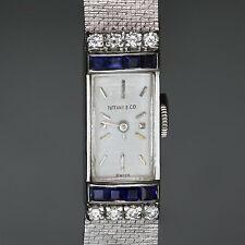TIFFANY & CO. Vintage Diamond Blue Sapphire White Gold Watch 1960s