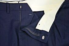 New Vintage Unbranded Men's Wool Slacks Sz 45 USA Unhemmed Black Career Trousers