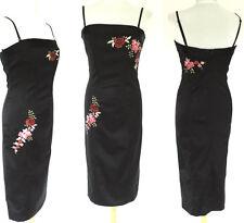 NEXT BLACK SATIN EMBROIDERED STRAPPY CORSET DRESS WIGGLE PENCIL SEXY SIREN sz 12