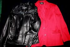 LADIES Leather Jacket & Wool Blazer, Size L / 16, Kenneth Cole Dalton NICE!