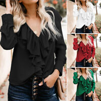 Womens Long Sleeve V-neck Shirt Ladies Office Ruffle Frill Top Blouse Plus Size