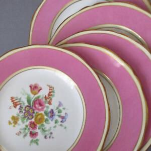 "5 Vintage GROSVENOR English Bone China 8"" Plates PINK Colorful FLOWERS Gilt Trim"