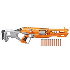 Hasbro Nerf Accustrike Alphahawk Fucile Blaster Caricatore a Tamburo e 10 Dardi