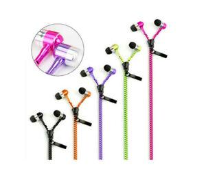 Universal 3.5mm Jack Zipper Earphones Earbuds Tangle Free Zip Headphones Mic