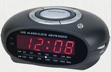 Alarm Clock Radio with Night Light LED Display Snooze Sleep AM FM Battery Backup