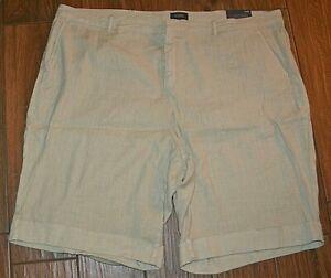 NYDJ Khaki Beige Bermuda Linen Blend Cuffed Casual Shorts Size 24W