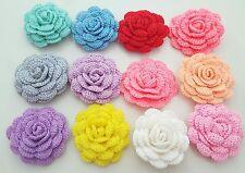 "Lot of 12 Rose Handmade Crochet Flower Appliques 2""  - 1mm thread -Multi-Color"