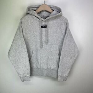 Adidas Originals Women Grey Cotton Oversized Long Sleeve Hooded Jumper Size UK10