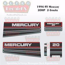 1994-95 Mercury 20HP Two Stroke Reproduction Marine Vinyl Decals 5 Piece