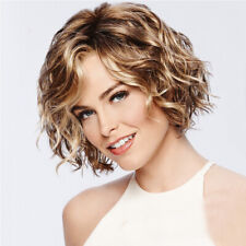Charm Women Ladies Short Curly Wigs Fluffy Brown Mix Blonde Hair Wig with Bangs