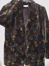 VINTAGE 1970s 70s Style Valencia Velvet Velour Flower Print Blazer Jacket LARGE