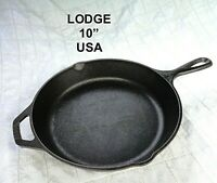 "LODGE 10 Inch 10"" Cast Iron Skillet Fry Pan Two Pour Spouts 8SK USA"