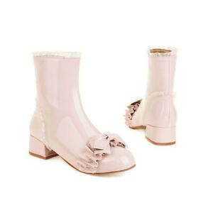44-48 Sweet Women's Booties Low Heel Bow Ankle Boots Princess Casual Shoes 48 D
