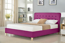 Modern Bedroom Furniture Scandy Queen Size Fabric Bed Frame with Headboard  Pink